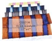 CUSTOM for crhorigan: Silk Clutch, Navy with Plum Stripes