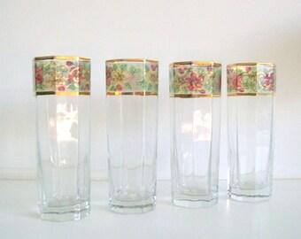 Floral Design Gold Trim Vintage Glassware