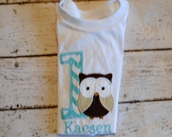 Owl Birthday Shirt or Bodysuit with Name Personalized