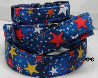 Dog Collar Patriotic USA Stars Red White Blue Gold July 4 Labor Day Veterans Day ANY DAY Adjustable Dog Collar D Ring Choose Size Accessory
