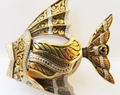 Vintage jewelry brooch in  gold tone with black enamel simulated Damascene pearl fish brooch Sale half price
