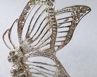 Vintage jewelry brooch with  clear rhinestones in silver butterfly brooch
