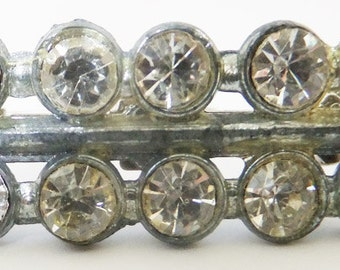 Vintage jewelry brooch in silver with clear rhinestones brooch Sale half price