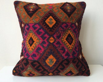 Handwoven Turkish Carpet Pillow Cover, Decorative Pillows, Accent Pillow, Throw Pillow, Kilim Pillow Cover, Vintage Pillow, Lumbar Pillow