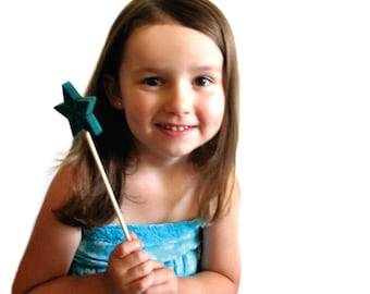 Blue wand fairy wands for dress up and pretend play wood all natural