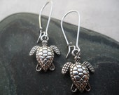 Silver Sea Turtle Earrings, Turtle Jewelry, Simple Everyday Silver Earrings