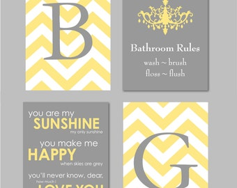 Nice Yellow And Gray Bathroom Art Home Decor Prints You Are My Sunshine  Chandelier Chevron Monogram Prints
