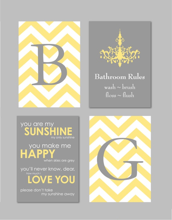 Yellow And Gray Bathroom Art Home Decor Prints You Are My
