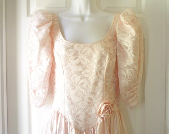 Pink Satin and Lace Party Dress, Vintage Prom, Bridal Party Gown, Pink Semi Formal
