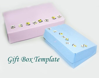 Printable Rectangular Jewelry Gift Box Template, Hinged Lid