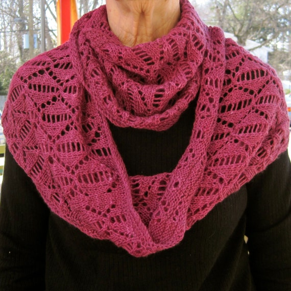 Spring Scarf Knitting Pattern : Knit Cowl Pattern: Dreaming of Spring Lace Cowl/Infinity
