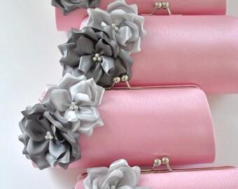Set of 10- Medium Bridesmaid clutches / Wedding clutches - Custom Color