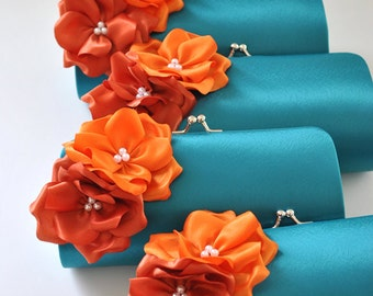 Set of 11 Small Bridesmaid clutches / Wedding clutches - CUSTOM COLOR