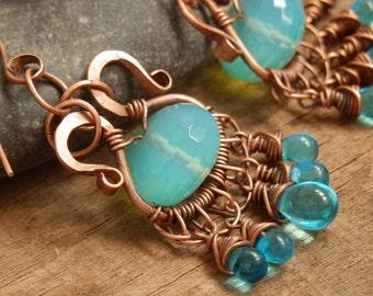 Handmade Copper Earrings, Forged Copper, Blue Beaded Boho, Tribal Earrings, Chandelier Earrings