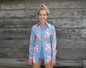 Vintage Apple Bee women's turquoise rose floral long sleeve button down shirt tapered Canada