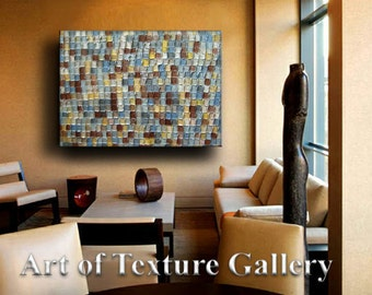 Abstract Textured Painting 48 x 36 Custom Original Slate Rust Gold Gray Beige Silver Impasto Oil by Je Hlobik