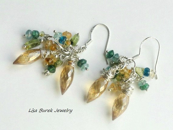 Gemstone Dangle earrings - Lisa Burek Jewelry