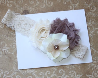 Fall Headband... Taupe  and Ivory Lace Headband   (Newborn, Toddler, Child)