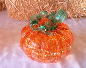 Hand- blown glass pumpkins, made in Corning NY