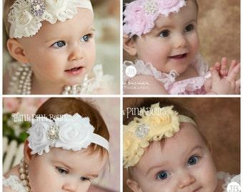 Baby Headband,Ivory Headband, Baby Headbands, Pink headband, White Headband,Christening Headband,Red Headband,Baptism Headband,baby bows. 3