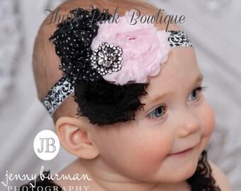 Pink and Black headband, Baby Headbands,  baby headband,baby girl headband,Girls Headbands,Shabby Chic Headband, Baby Hair Bows.