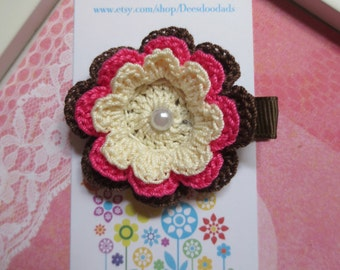 Cream Hot Pink Fudge Crochet Flower Hair Clip