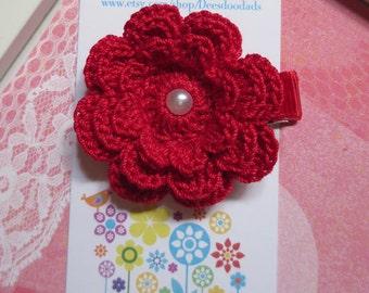 Red Three Layer Crochet Flower Hair Clip