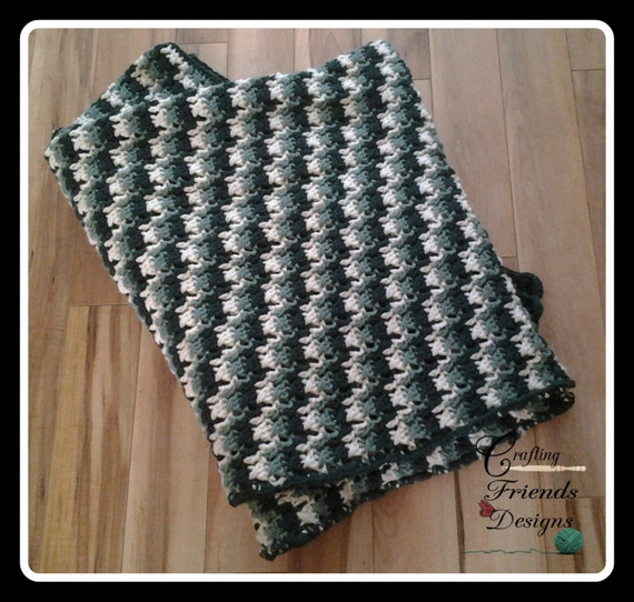 Green Crochet Afghan Pattern : Crochet Pattern: Warm Green Camo Afghan