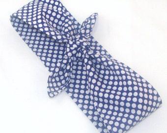 Headscarf, Blue with White Polka Dots 50s Hair Rockabilly Pin Up Headscarf Headband Bandanna