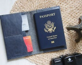 Leather Passport Case, Personalized, Hand Stitched by Harlex