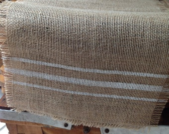 Grain Sack Burlap Table Runner White Striped Burlap Table Runner Choice of Colors by sweet janes plan