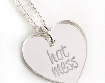 Hot Mess Necklace - Silver Heart