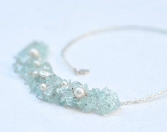 Aquamarine Bib Necklace, Blue birthstone necklace -  handmade Wedding Jewelry - Crochet Knitted Lace Silver Freshwater Natural Pearl