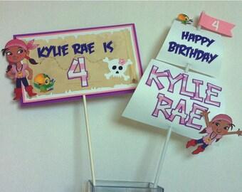 IZZY & NEVERLAND PIRATES Birthday Party Centerpiece Picks