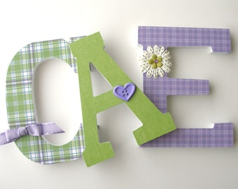 Wooden Wall Nursery Letters - Purple and Green - Baby Girl Custom Letter Set