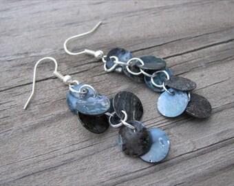 Slate Grey Earrings- Shell Dangle Earrings