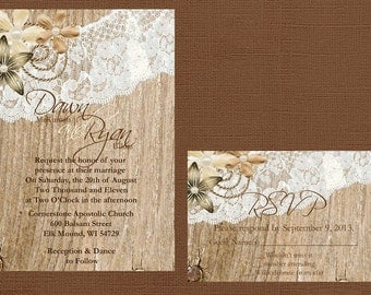 Rustic Lace Wedding Invitation, Lace and Wood Wedding Invitation, Vintage Lace Wedding Invitation, Custom