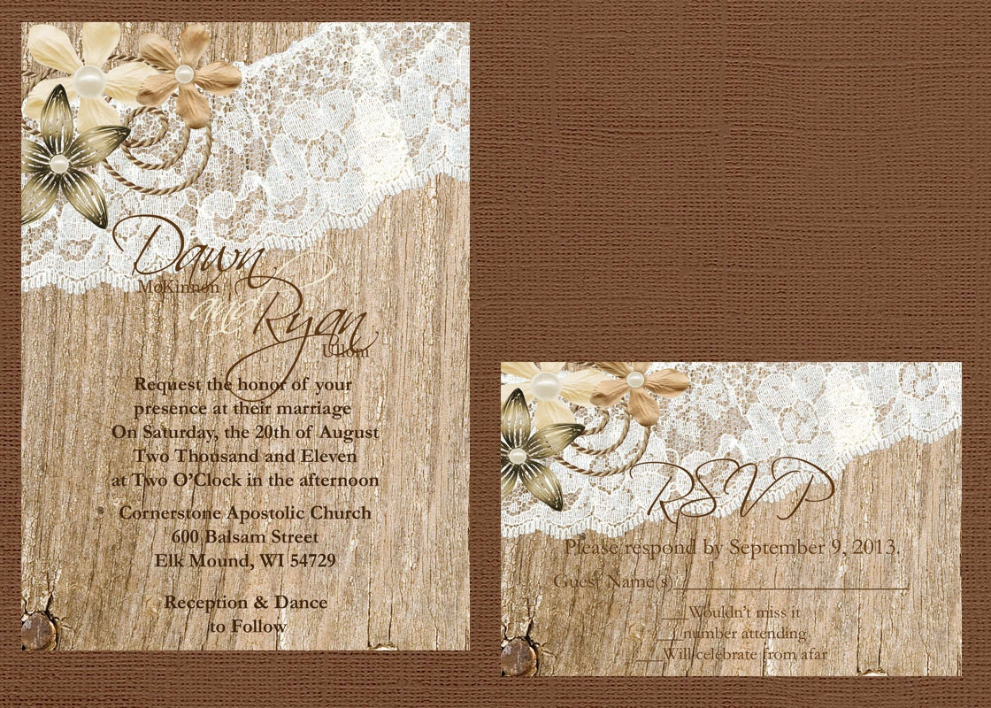 Lace Wedding Invitation: Rustic Lace Wedding Invitation Lace And Wood Wedding