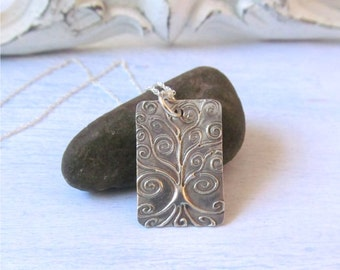 Tree Of Life Pendant, Silver Tree Necklace, Whimsical Tree Jewelry, Tree Necklace