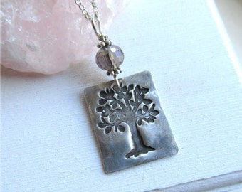 Silver Tree Of Life Necklace, Tree Pendant, Oak Tree Necklace, Tree Necklace
