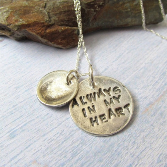 Memorial Jewelry Silver Fingerprint Necklace By
