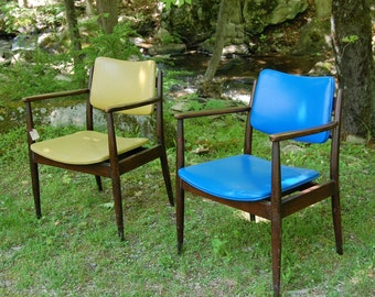 two vintage midcentury modern- madmen arm chairs- pick up only new york 10516