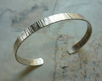 Sterling Silver Cuff, Grooved Silver Cuff, Thin Silver Cuff, Delicate Silver Cuff, Thin Sterling Silver Bracelet, Grooved Silver Bracelet.