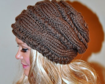 Slouchy Beanie Slouch Hat Cabled Braided Hand Knit Winter Women Wool CHOOSE COLOR Taupe Naturel Wood Cable Knit Hat Christmas  Gift