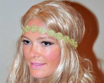 Metallic Headband Golden Circles Boho Headband Gold Hair band Headwrap Stretch Vintage Headband Gift under 25