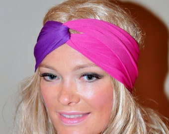 Turban Headband Pink Purple Turban Women Headband Headwrap Twist Gym Hair Wrap  Girly Romantic Gift under 25