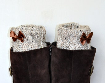 BOOT Socks  Boot Cuffs Bow Leg Warmers Bow Boot Socks Choose COLOR  Oatmeal Beige Wheat Nature Knit Gift under 50