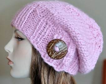 Women Slouchy Hat Slouch Beanie Button Hat Oversized Baggy Hat CHOOSE COLOR Knit Knitted Women Hat Pink Winter Autumn Fashion Girly
