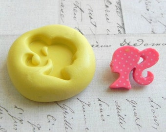 BARBIE (Left Facing) - Flexible Silicone Mold - Push Mold, Jewelry Mold, Polymer Clay Mold, Resin Mold, Craft Mold, Food Mold, PMC Mold