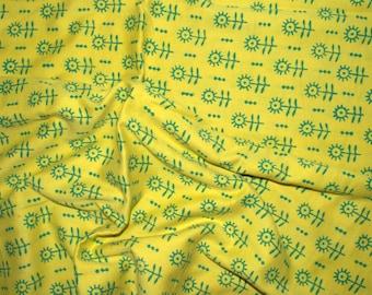 Sun flower print  -  Pure Cotton Fabric - One yard